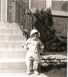 Bev at stairs 1954